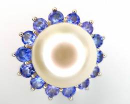 Natural Pearl And Tanzanite Ring
