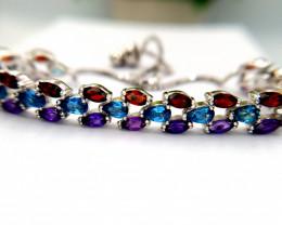 Natural Amethyst Topaz And Garnet Bracelet
