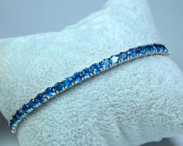 Natural 24 Pis London Blue Topaz 925 Silver Bracelet