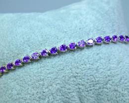 Natural 22 Pieces Amethyst 925 Silver Bracelet