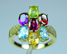 Natural 7Pis Multi color Stones  , CZ 925 Silver yellow Gold Plated Ring
