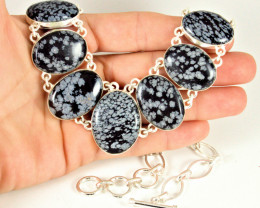 449.5 Tcw. Snowflake Obsidian / Sterling Silver Necklace - Gorgeous