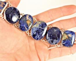 317.0 Tcw. Sodalite / Sterling Silver Bracelet - Gorgeous