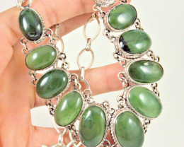 430.0 Tcw. African Prehnite Sterling Silver Necklace - Gorgeous