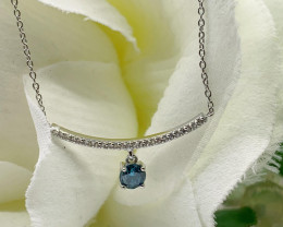 Natural Blue Diamond 0.43 Ct And Topaz ~ Silver Necklace
