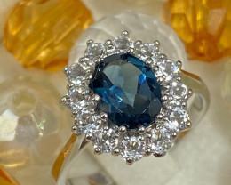 *NoReserve* Stylish Natural London Blue Topaz Ring ~ Silver