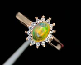 Elegant-Opal-Ring-CZ-GP-Silver 925