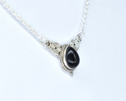BLACK ONYX NECKLACE NATURAL GEM 925 STERLING SILVER AN93
