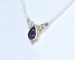 AMETHYST NECKLACE NATURAL GEM 925 STERLING SILVER AN94