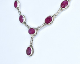 RUBY NECKLACE NATURAL GEM 925 STERLING SILVER AN96