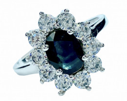 1.30ct. Alluringly Blue Sapphire Top Quality Gemstone. Silver925Ring.DBS259