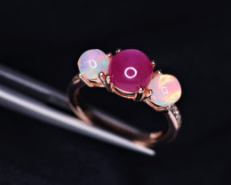 Gorgeous Natural Ruby, Opal, CZ & 925 Fancy Rose Gold Sterling Silver