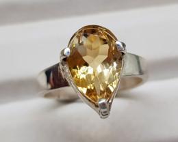Natural Yellow Citrine 20.20 Carats Hand Made Ring