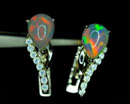 Natural 2PisAAA Very Top Multi Fire Opal , CZ 925 Silver Earrings