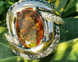 Sterling  Silver and  Gold with Big stone and  Zirconia Ring - Style 9 -