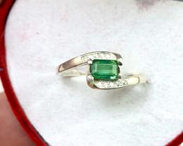Natural 12.00 Carats green blue tourmaline 925 Silver Ring