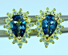 Natural 2PisAAA Top London Blue Topaz , CZ 925 Silver Gold Plated Earri