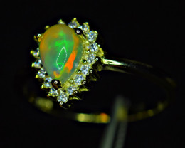 Natural AAA Multi Fire Opal Cabochon ,CZ 925 Silver yellow Gold Plated Ring