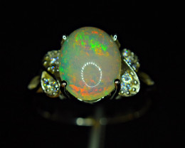 Natural AAA Multi Fire Opal Cabochon ,CZ 925 Silver Amazing Ring
