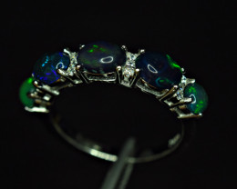 Natural 5 Pis AAA Multi Fire Opal Cabochon ,CZ 925 Silver Ring
