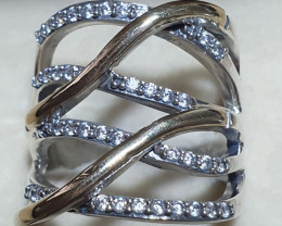 Ring - Style 14 - Sophisticated & elegant. CZ, Sterling Silver & 9K Gold.