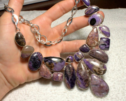 631.5 Tcw. Russian Charoite / Sterling Silver Necklace - Gorgeous