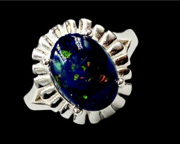 3.08ct. Aesthetic Natural Black Opal Dramatic Fire.Silver925Ring.DBO264