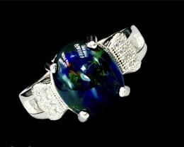 3.01ct. Ravishing Natural Black Opal Dramatic Fire Silver925Ring.DBO265
