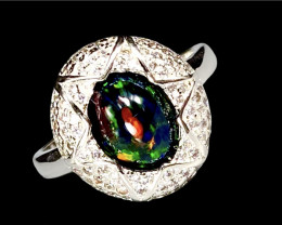 1.90ct. Artistic Natural Black Opal Dramatic Fire.Silver925Ring.DBO267