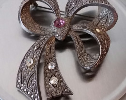 VINTAGE ARTICULATED RIBBON & BOW BROOCH - 1930'S CIRCA