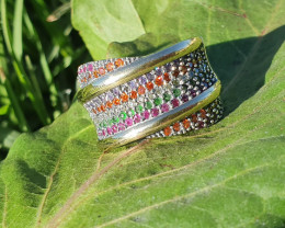 MutiColor, Sterling Silver & 9K Gold. Ring  Style 16