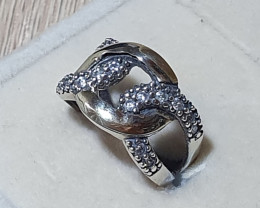 Cubic Zirconi ring with Sterling Silver & 9K Gold.