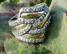 Very Elegant Style. Zirconia, 9K Gold and Sterling Silver