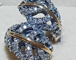 Gorgeous Huge Ring !!! 9K Gold and Sterling Silver Hallmarked !Ring - Style