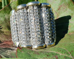 Beautiful huge ring, 9K Gold, Sterling Silver & Cubic Zirconia Stlye 57