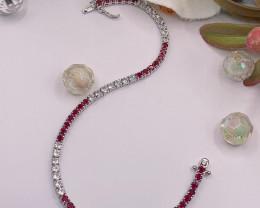 Tennis bracelet Natural Ruby  and Topaz Silver  Bracelet