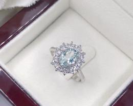 Stylish Natural Aquamarine And Topaz Ring ~ Silver