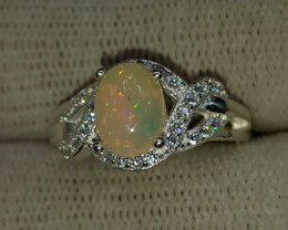 Natural Ethiopian Fire Opal 16.00 Carats 925 Silver CZ Ring