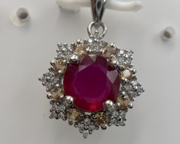 Natural Ruby Pendent with CZ.