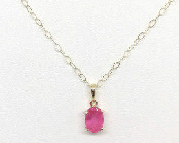 9kt. Gold - Pink Sapphire Necklace 1.15ct.