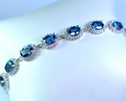 Natural 13 Pis London Blue Topaz ,CZ 925 Silver Bracelet