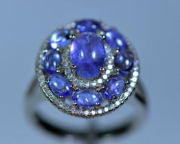 Natural 9Pis Tanzanite ,CZ Nice Design 925 Silver Ring