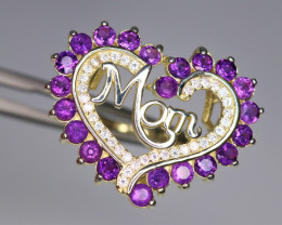 Gorgeous Natural Amethyst, CZ & 925 Fancy Yellow Sterling Silver