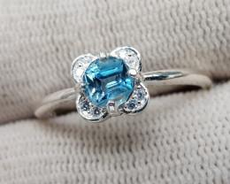 Natural Blue Aquamarine 10.00 Carats 925 Silver Ring