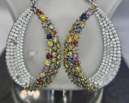 Precious Natural Rainbow sapphire Earring with CZ.