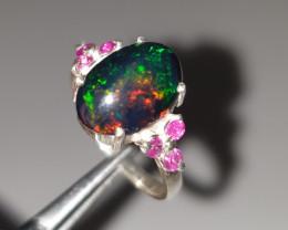 Handmade Natural Opal and Ruby Ring