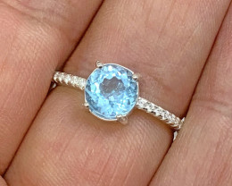 Natural 13.00 Carat Round Blue Topaz 925 Silver Ring