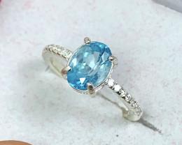 Natural 12.00 Carats  Rare Blue Zircon (Cambolite) 925 Silver Ring