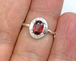 Natural 12.00 Carats Red Rhodolite Garnet 925 Silver Ring