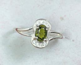 Natural 10.00 Carats Green Diopside 925 Silver Ring